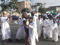 Muslims perform a qasida  in  Nairobi streets Royalty Free Stock Photo