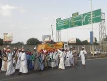 Muslims perform a qasida  in  Nairobi streets Stock Images