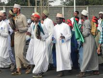Muslims perform a qasida  in  Nairobi streets. Muslims perform a qasida (islamic song) in  Nairobi streets Kenya. This happens during a festive holidays such as Stock Photography