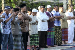 Muslims pray. Muslims are to pray while celebrating the Islamic holiday in the city of Solo, Central Java, Indonesia Royalty Free Stock Image