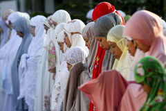 Muslims pray. Muslims are to pray while celebrating the Islamic holiday in the city of Solo, Central Java, Indonesia Royalty Free Stock Photo
