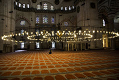 Muslims praying. Muslims pray inside of Eyup Sultan Mosque Stock Photography