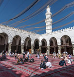 Muslims praying in Quba Mosque royalty free stock photo