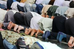 Muslims praying together at Holy mosque Royalty Free Stock Photography