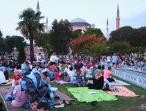 The Muslims waiting for the evening meal (Iftar) in Ramadan in f Royalty Free Stock Photo