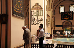 Muslims who pray at the Grand Mosque in Bursa Royalty Free Stock Images
