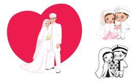 Muslimsk brölloptecknad film royaltyfri illustrationer