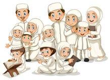 Muslimsk familj royaltyfri illustrationer