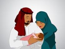 Muslimsk familj med ett barn Royaltyfri Fotografi