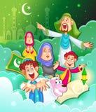 Muslimsk familj som önskar Eid Mubarak Royaltyfria Bilder