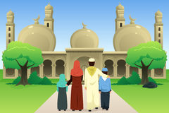Muslimsk familj som går till moskén stock illustrationer