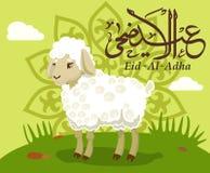 Muslimsk ferie Eid al-Adha Lyckönsknings- affisch med lammet också vektor för coreldrawillustration royaltyfri illustrationer