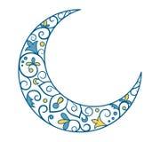 Muslimsk ferie Ramadan Kareem Crescent Moon Ornament Icon Sign I vektor illustrationer