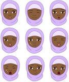 Muslimsk flicka i sinnesrörelser för en burqa: glädje överraskning, skräck, sorgsenhet, s Arkivbilder