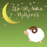 Muslimsk gemenskapfestival av kortet för offerEid Ul Adha hälsning, bakgrund med fårmånen och stjärnor Arkivbild