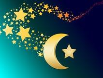 Muslimsk guld- stjärna- och halvmånformigvektor Arkivbilder