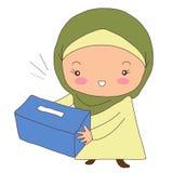 Muslimsk kvinna med en ask för att samla fonder Arkivbild