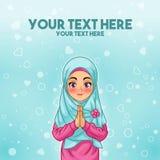 Muslimsk kvinnahälsning med att välkomna händer royaltyfri illustrationer