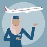 Muslimsk kvinnastewardess royaltyfri illustrationer