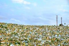 Muslimsk kyrkogård i Rabat, Marocko 05 05 2016 Arkivfoto
