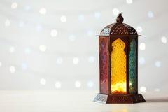Muslimsk lampa Fanus och utrymme för design arkivbilder