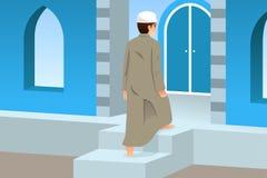 Muslimsk man som går till moskén för bön royaltyfri illustrationer