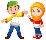 Muslimsk pojke och flicka i traditionell dräkt stock illustrationer