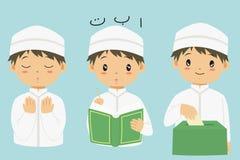 Muslimsk samling för pojketecknad filmvektor