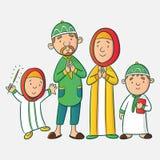 Muslimsk tecknad filmfamilj vektor illustrationer