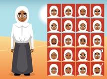 Muslimsk tillfällig enhetlig flickatecknad filmsinnesrörelse vänder mot vektorillustrationen royaltyfri illustrationer