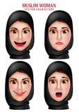 Muslimsk uppsättning för kvinnavektortecken av den bärande hijab för huvud eller huvudhalsduken Royaltyfri Foto