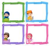 Muslimska barn på träram stock illustrationer