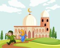 Muslimska barn som lämnar moskén vektor illustrationer