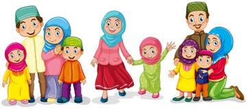 Muslimska familjer som ser lyckliga royaltyfri illustrationer