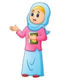 Muslimska kvinnor som bär blått, skyler med hållande framlägga för quran vektor illustrationer