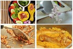 Muslimska ris för gul jasmin med höna, Halal mat Arkivfoton