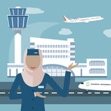 Muslimskt flygbolag och stewardess stock illustrationer