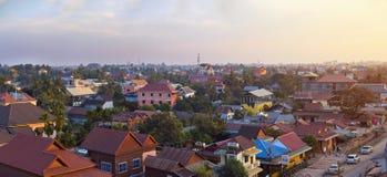 Muslimskt område av den Siem Reap staden, Cambodja Fotografering för Bildbyråer