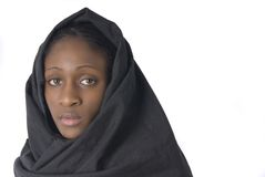 Muslin woman with black vell Royalty Free Stock Images