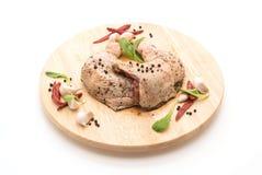 Muslo adobado del pollo Imagen de archivo libre de regalías