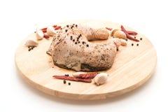 Muslo adobado del pollo Foto de archivo libre de regalías