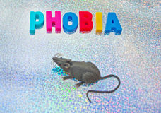 Musophobia or murophobia. Text phobia in colorful uppercase letters with a mouse alongside to indicate fear of mice, reflective background Royalty Free Stock Photos