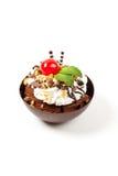 Musse em um copo escuro do chocolate com cereja Imagem de Stock Royalty Free