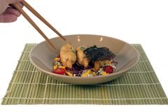 Musse fritada braçadeira do camarão no espeto do cana-de-açúcar Imagem de Stock
