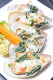 Mussel bake with cheese and spinach Royalty Free Stock Image