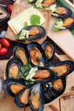 Mussel bake, sprinkle with cheese is delicious. Mussel bake, sprinkle with cheese is delicious Stock Photography