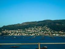 Mussel barges in Domaio in Ria de Vigo. The southern most ria of the Rias Baixas Stock Photos