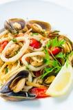 Mussel and calamari salad Stock Photos