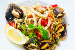Mussel and calamari salad Stock Photography