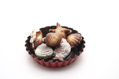 Mussel chocolates Stock Image